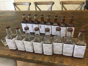 Bottles of Bourbon Ready for Tasting