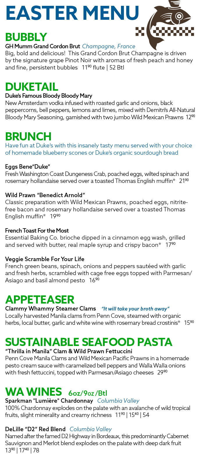 Easter Brunch Menu 2021